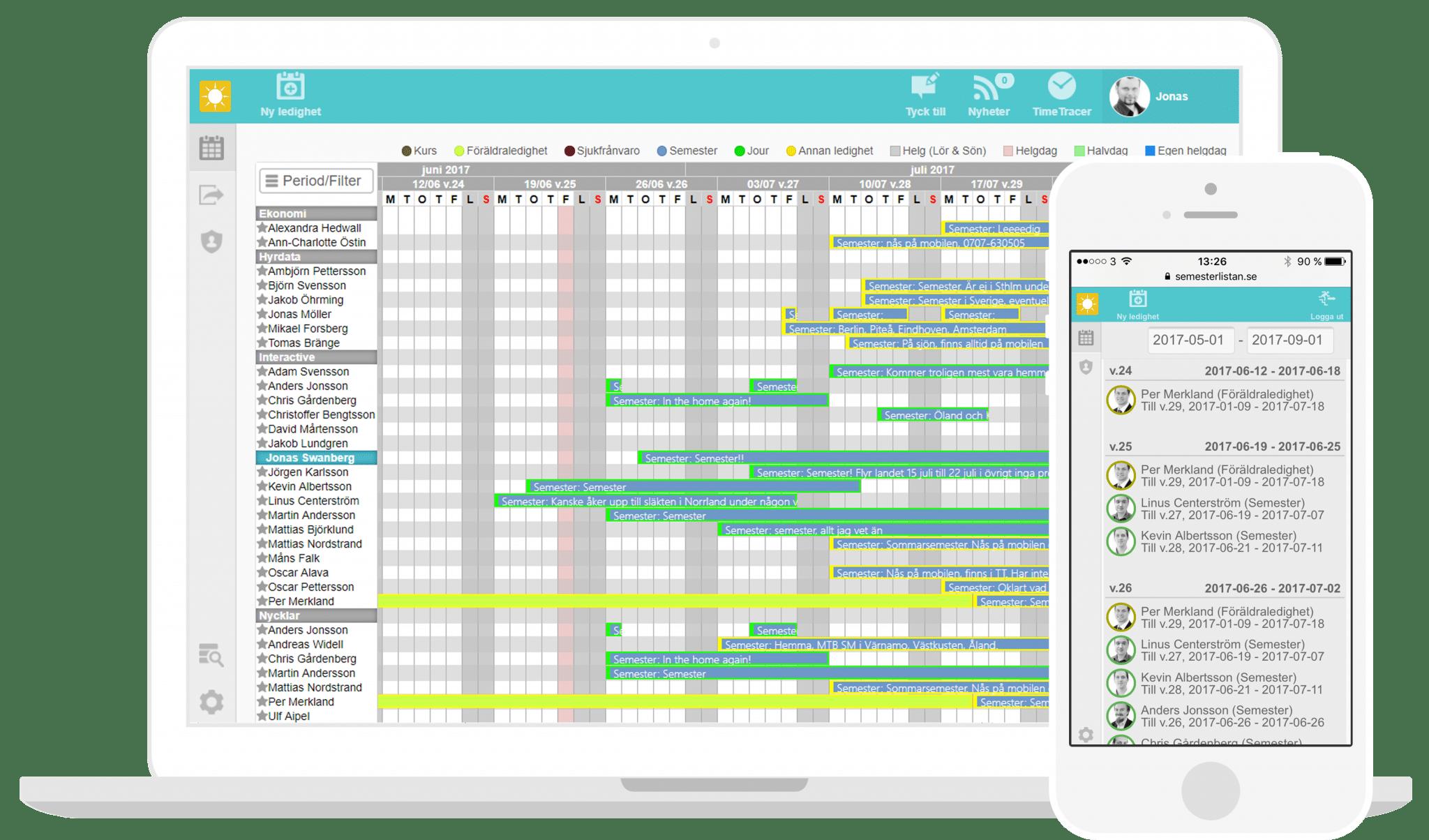 I din semesterlista så får du en komplett bild av ledighetsperioderna. Exportera sedan enkelt din semesterlista till andra system.